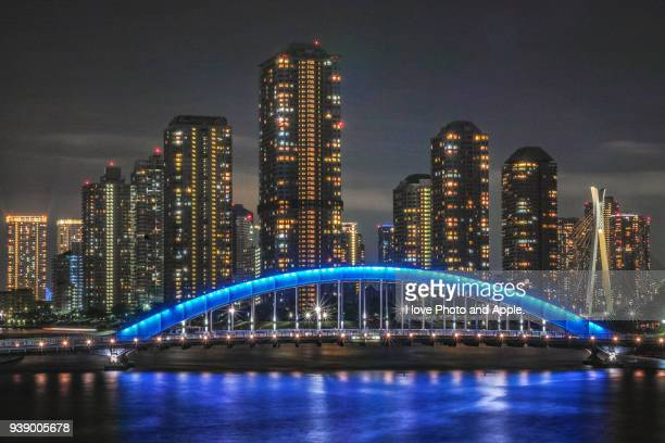 eitai-bashi night view - 永代橋 ストックフォトと画像