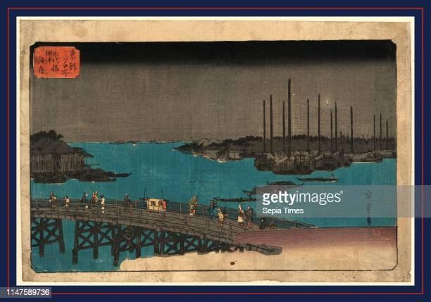 Eitaibashi tsukuda oki isaribune, Boats moored near Eitai Bridge., Ando, Hiroshige, 1797-1858, artist, [between 1833 and 1836], 1 print : woodcut,...