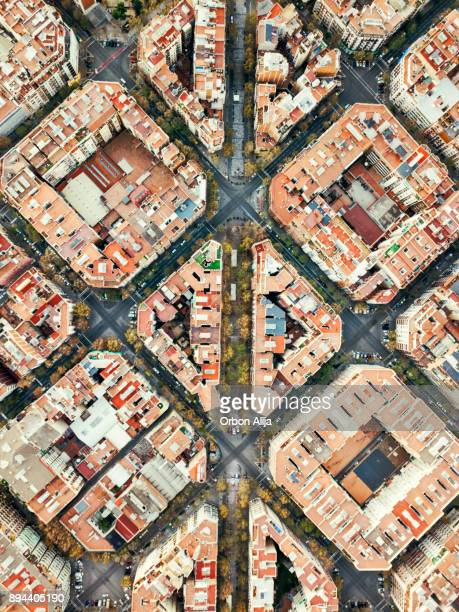 eixample neighborhood in barcelona - barcelona spain stock photos and pictures