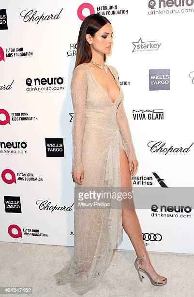 Eiza Gonzalez arrives at the 23rd Annual Elton John AIDS Foundation Academy Awards Viewing Party at The City of West Hollywood Park on February 22...