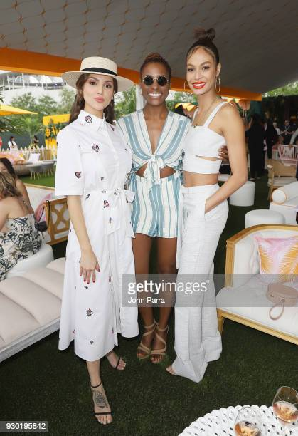 Eiza Gonzalez Issa Rae and Joan Smalls attend the 4th Annual Veuve Clicquot Carnaval at Museum Park on March 10 2018 in Miami Florida
