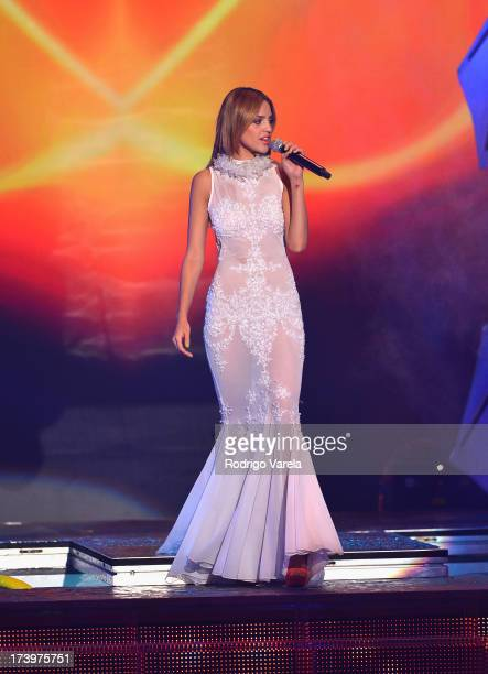 Eiza Gonzalez performs onstage during the Premios Juventud 2013 at Bank United Center on July 18 2013 in Miami Florida