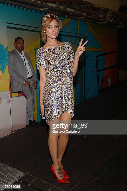 Eiza Gonzalez poses backstage during the Premios Juventud 2013 at Bank United Center on July 18 2013 in Miami Florida