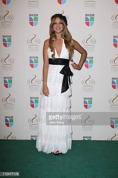 Eiza Gonzalez poses in the press room at Univisions Premio Lo Nuestro a La Musica Latina Awards at Bank United Center on March 26 2009 in Coral...