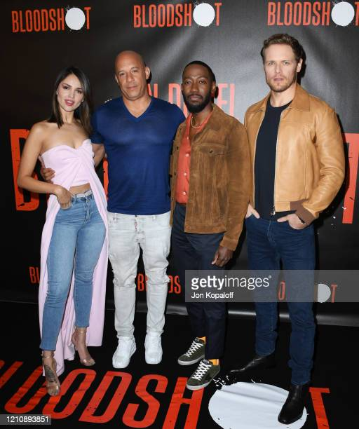 Eiza Gonzalez Vin Diesel Lamorne Morris and Sam Heughan attend the photocall of Sony Pictures' Bloodshot at The London Hotel on March 06 2020 in West...