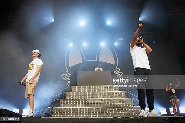 Eizi Eiz and Denyo of Beginner perform live on stage during the second day of the Lollapalooza Berlin music festival at Treptower Park on September...