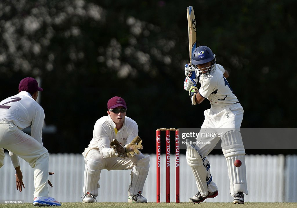 Ejaaz Alavi of Victoria bats during day one of the Futures League match between Queensland and Victoria at Allan Border Field on September 30, 2013 in Brisbane, Australia.