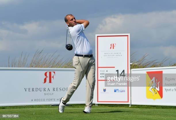 EJacopo Vecchi Fossa of Italy tees off on the 14th hole during day two of the Rocco Forte Open at Verdura Golf and Spa Resort on May 11 2018 in...