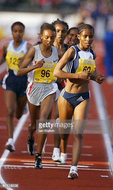 Ejegayehu Dibaba of Ethiopia leads the field during the Women's 5000 metres race at the IAAF Bergen Bislett games held on June 11 2004 at the Fana...