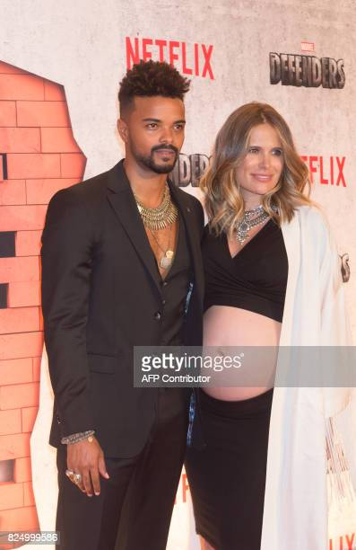 Eka Darville and Leela Darville arrive for the Netflix premiere of Marvel's 'The Defenders' on July 31 2017 in New York / AFP PHOTO / Bryan R Smith