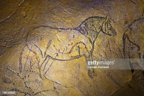 ekain cave, ekainberri cave. - cave paintings stock pictures, royalty-free photos & images