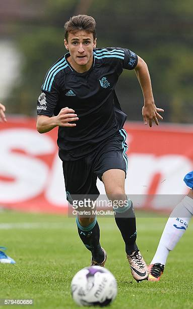 Ekaitz Jimenez of Real Sociedad during the third and fourth place play off Super Cup NI game at Ballymena Showgrounds on July 23 2016 in Ballymena...