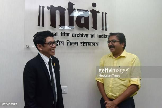 Ekapol Poolpipat The Royal Thai ConsulateGeneral and Prakash Magdum Director NFAI during a press conference to announce Thai Film Festival at NFAI on...
