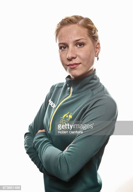 Ekatarina Alexandrovskaya poses during a 2018 Australian Winter Olympic Team portrait session at The Icehouse on April 27 2017 in Melbourne Australia