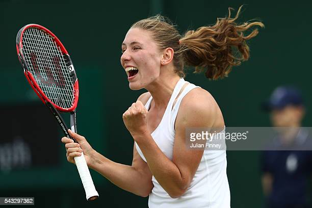 Ekaterina Alexandrova celebrates victory following the Ladies Singles first round match against Ana Ivanovic on day one of the Wimbledon Lawn Tennis...