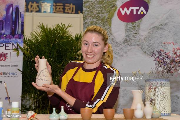 Ekaterina Alexandrova of Russia attends make ceramic vases during the 2019 WTA Shenzhen Open at Shenzhen Longgang Sports Center on January 1 2019 in...