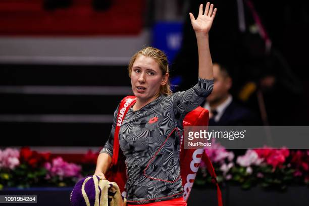 Ekaterina Alexandrova of Russia celebrates after her WTA St Petersburg Ladies Trophy 2019 tennis match against Tereza Martincova of Czech Republic on...