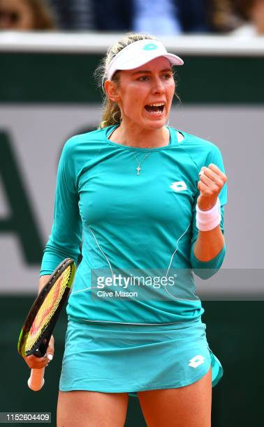 Ekaterina Alexandrova of Russia celebrates during her ladies singles second round match against Samantha Stosur of Australia during Day five of the...
