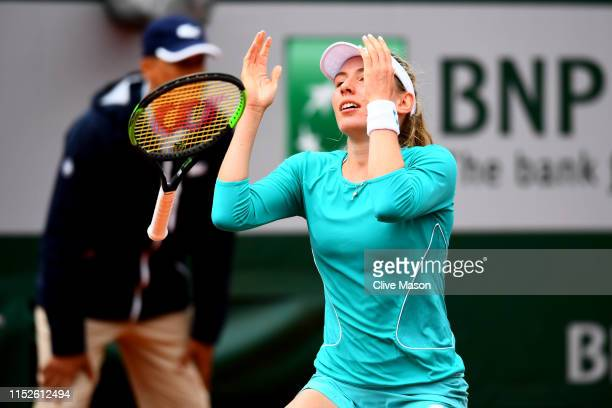 Ekaterina Alexandrova of Russia celebrates match point during her ladies singles second round match against Samantha Stosur of Australia during Day...