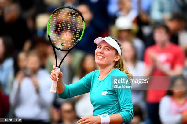 Ekaterina Alexandrova of Russia celebrates victory during her ladies singles second round match against Samantha Stosur of Australia during Day five...