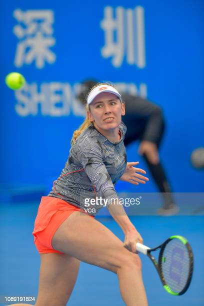 Ekaterina Alexandrova of Russia hits a return during the women's singles 2nd round match against Aryna Sabalenka of Belarus on main draw day 4 of the...