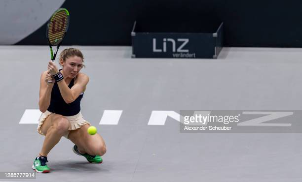 Ekaterina Alexandrova of Russia in action during Day 3 of the Upper Austria Ladies Linz at TipsArena Linz on November 11, 2020 in Linz, Austria.