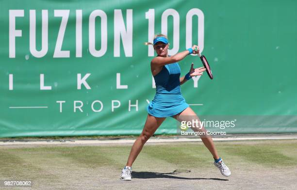 Ekaterina Alexandrova of Russia in action during the Women's final on day Eight of the Fuzion 100 Ikley Trophy at Ilkley Lawn Tennis Squash Club on...