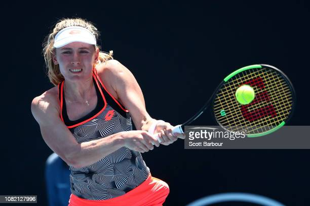 Ekaterina Alexandrova of Russia plays a backhand in her first round match against Lesia Tsurenko of Ukraine during day one of the 2019 Australian...