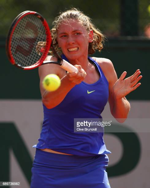 Ekaterina Alexandrova of Russia plays a forehand during the ladies singles first round match against Katerina Siniakova of The Czech Republic on day...