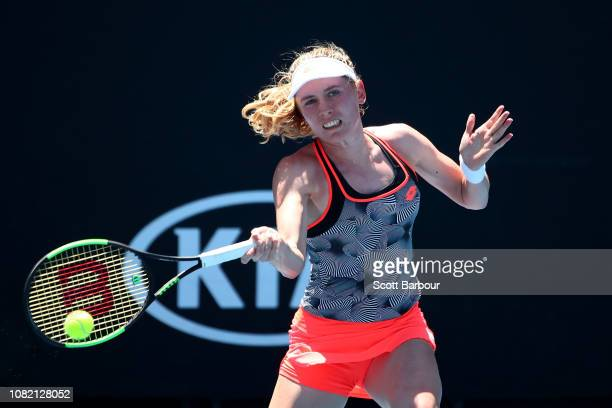 Ekaterina Alexandrova of Russia plays a forehand in her first round match against Lesia Tsurenko of Ukraine during day one of the 2019 Australian...