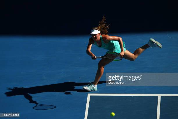 Ekaterina Alexandrova of Russia plays a forehand in her second round match against Madison Keys of the United States on day four of the 2018...