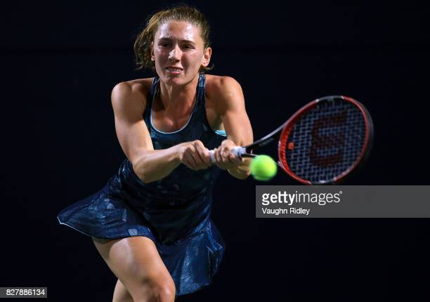 Ekaterina Alexandrova of Russia plays a shot against Caroline Wozniacki of Denmark during Day 4 of the Rogers Cup at Aviva Centre on August 8 2017 in...