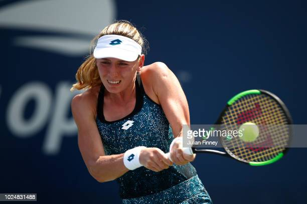 Ekaterina Alexandrova of Russia returns the ball during her women's singles first round match against SuWei Hsieh of Chinese Taipei on Day Two of the...