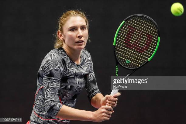 Ekaterina Alexandrova of Russia returns the ball to Aryna Sabalenka of Belarus during their WTA St Petersburg Ladies Trophy 2019 tennis match on...