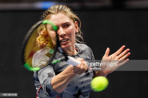 Ekaterina Alexandrova of Russia returns the ball to Tereza Martincova of Czech Republic during their WTA St Petersburg Ladies Trophy 2019 tennis...