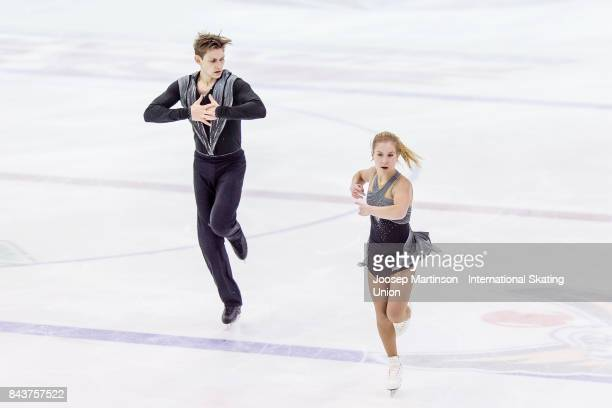 Ekaterina Alexandrovskaya and Harley Windsor of Australia compete in the Junior Pairs Short Program during day 1 of the Riga Cup ISU Junior Grand...