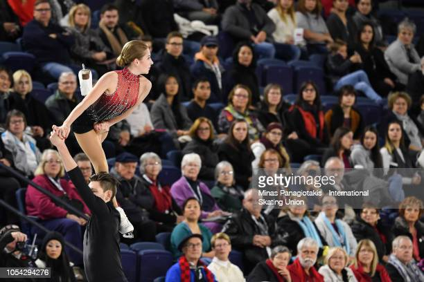 Ekaterina Alexandrovskaya and Harley Windsor of Australia compete on day two during the ISU Grand Prix of Figure Skating Skate Canada International...
