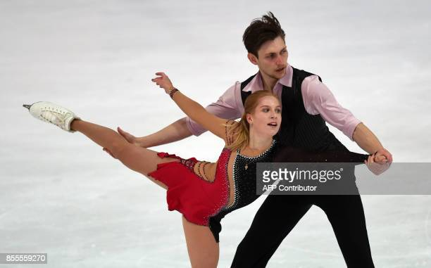 Ekaterina Alexandrovskaya and Harley Windsor of Australia perform during their pairs free skating program of the 49th Nebelhorn trophy figure skating...