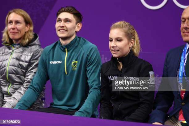 Ekaterina Alexandrovskaya and Harley Windsor of Australia react after their routine during the Pair Skating Short Program on day five of the...