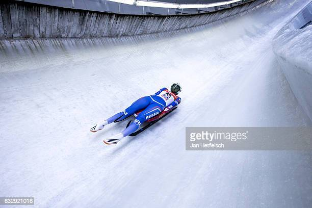 Ekaterina Baturina of Russian Federation competes in the first heat of the Women's Luge competition during the second day of the FILWorld...