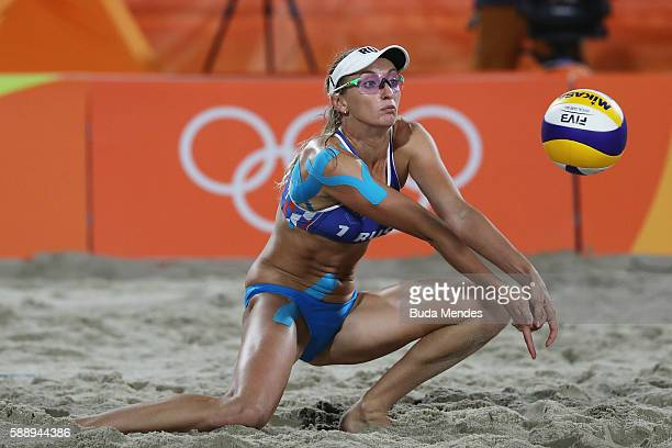 Ekaterina Birlova of Russia in action during the Women's Round of 16 match against Liliana Fernandez Steiner and Elsa Baquerizo McMillan of Spain on...