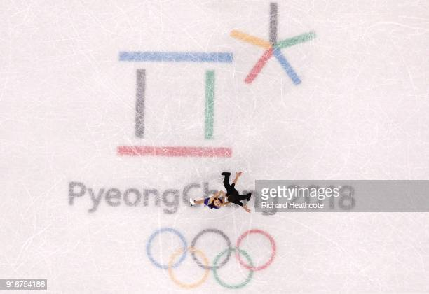 Ekaterina Bobrova and Dmitri Soloviev of Olympic Athlete from Russia compete in the Figure Skating Team Event Ice Dance Short Dance on day two of the...