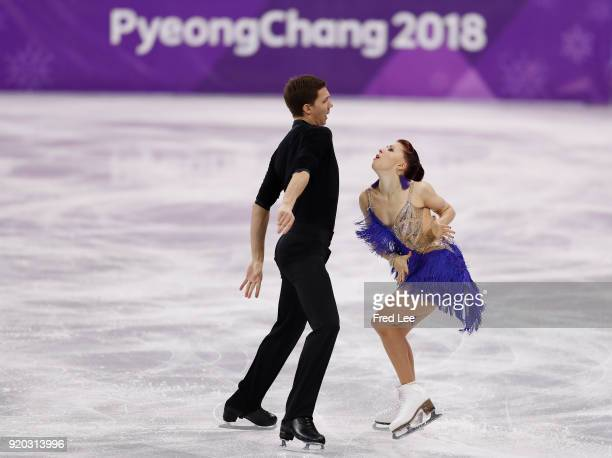 Ekaterina Bobrova and Dmitri Soloviev of Olympic Athlete from Russia compete during the Figure Skating Ice Dance Short Dance on day 10 of the...