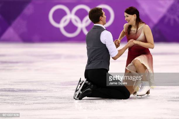 Ekaterina Bobrova and Dmitri Soloviev of Olympic Athlete from Russia compete in the Figure Skating Ice Dance Free Dance on day eleven of the...