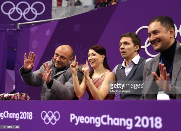 Ekaterina Bobrova and Dmitri Soloviev of Olympic Athlete from Russia react after competing in the Figure Skating Ice Dance Free Dance on day eleven...