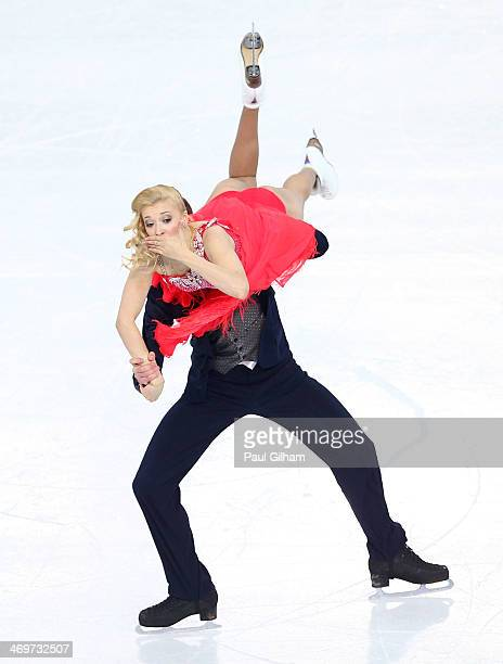 Ekaterina Bobrova and Dmitri Soloviev of Russia compete during the Figure Skating Ice Dance Short Dance on day 9 of the Sochi 2014 Winter Olympics at...