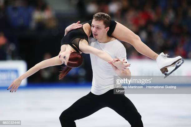 Ekaterina Bobrova and Dmitri Soloviev of Russia compete in the Ice Dance Free Dance during day four of the World Figure Skating Championships at...