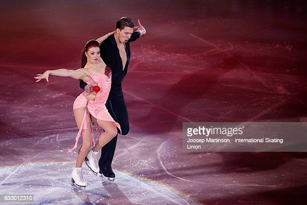 Ekaterina Bobrova and Dmitri Soloviev of Russia perform in the gala exhibition during day 5 of the European Figure Skating Championships at Ostravar...