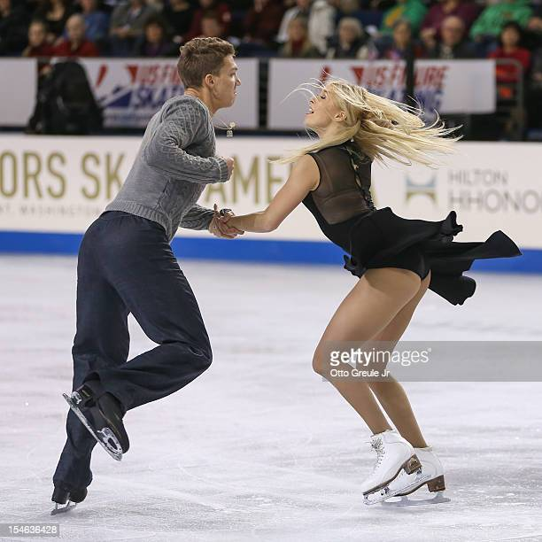 Ekaterina Bobrova and Dmitri Soloviev of Russia skate in the free dance during the Skate America competition at the ShoWare Center on October 21 2012...