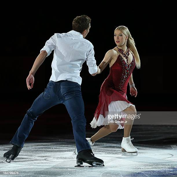 Ekaterina Bobrova and Dmitri Soloviev of Russia skate in the Smucker's Skating Spectacular event during the Skate America competition at the ShoWare...